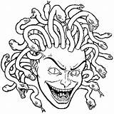Medusa Coloring Head Cabeza Madusa Colorear Template Dibujos sketch template