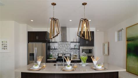 bright  fresh contemporary kitchen  gold encases