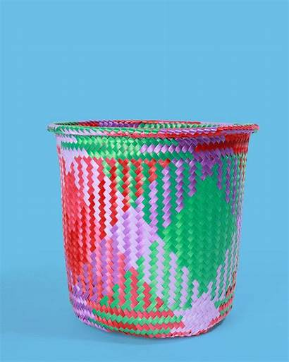 Basket Mexican Handwoven Pink Mexico