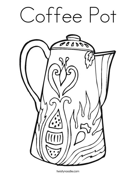 coffee pot coloring page twisty noodle