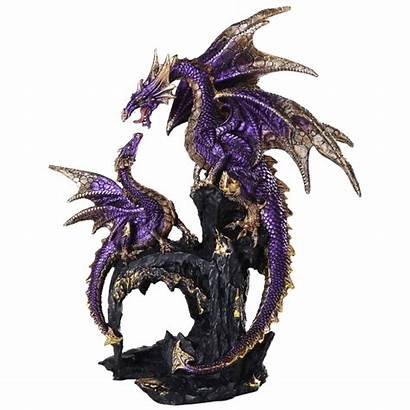 Dragon Statue Purple Statues Angry Mother Figurines