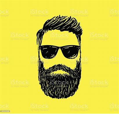 Vector Hipster Hair Illustration Beards Drawn Hand