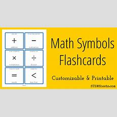 Math Symbols Flashcards  Stem Sheets