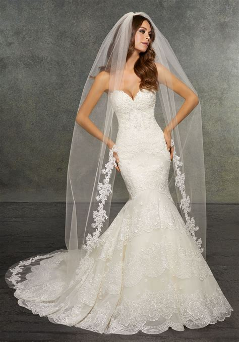 Veil Edged With Lace Beaded With Pearls Rhinestones And