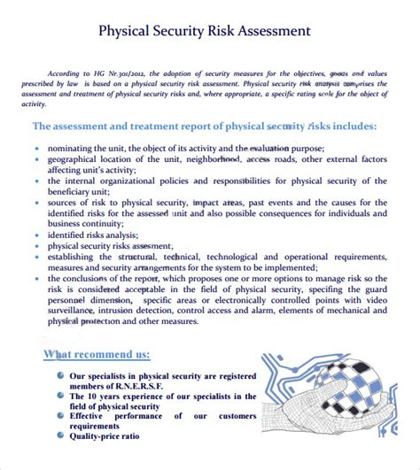 Physical Security Survey Template by 7 Security Risk Assessment Sles Sle Templates