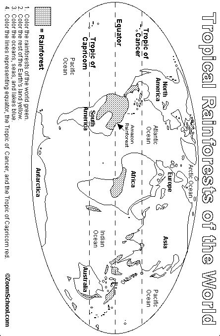 rainforest map printout enchantedlearning