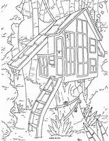 Coloring Tree Adult Printable Colouring Sheets Treehouses sketch template