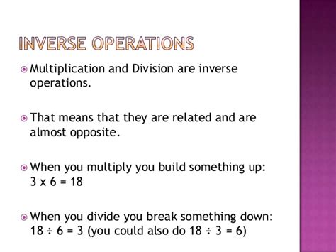 bureau invers relating multiplication and division