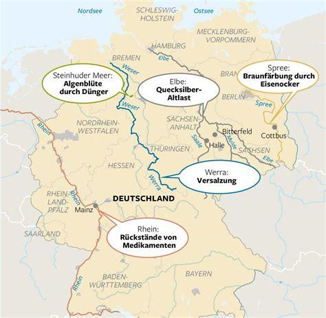die fuenf laengsten fluesse  deutschland karte  blog