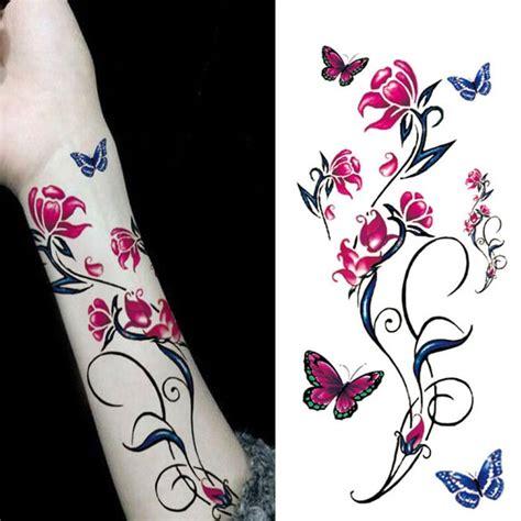 nouveau etanche autocollants de tatouage femme fleur totem