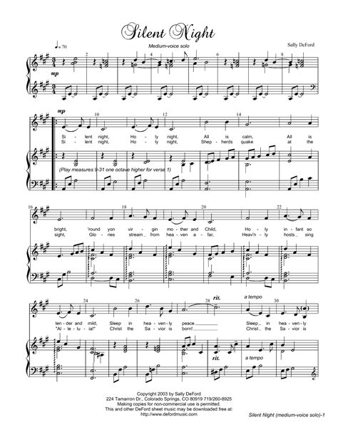 silent sheet night music piano solo sheets deford arrangement vocal sally song christmas easy chords guitar hymn score freeldssheetmusic songs