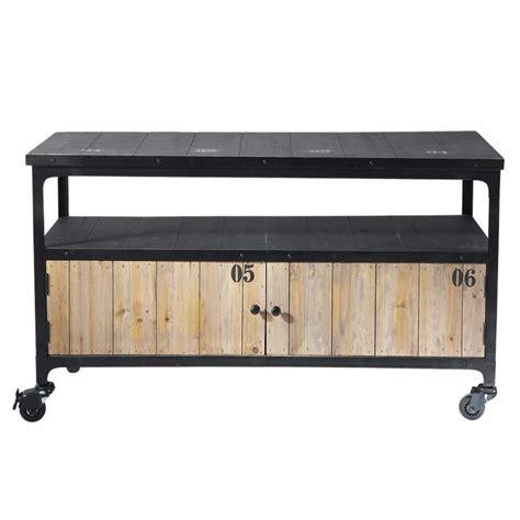 meuble tv indus 224 roulettes en m 233 tal et bois noir l 110 cm docks maisons du monde