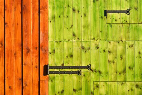 wooden gate with rich colors stock photo