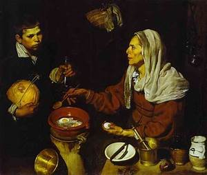 Old Woman Frying Eggs - Diego Velazquez Painting