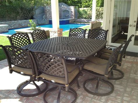 Outdoor Patio Table Set by 9 For 8 Cast Aluminum Outdoor Patio Square Dining