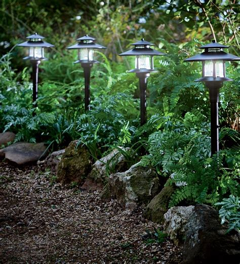 set of 4 solar path lights with remote solar panel solar