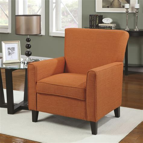 modern accent chair with arms in orange color decofurnish