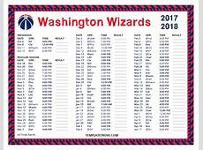 Printable 20172018 Washington Wizards Schedule
