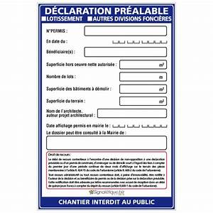Panneau Déclaration Préalable : panneau affichage d claration pr alable w1036 ~ Dode.kayakingforconservation.com Idées de Décoration