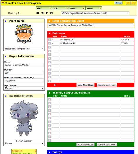 pokemon tcg deck list sheet images pokemon images