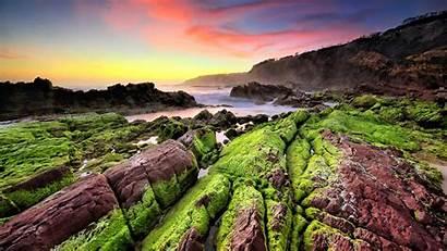 Landscape Indonesia Rocks Sunset Moss Sea Coast