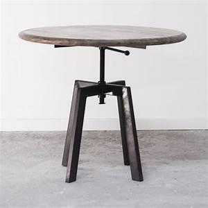 Table Basse Ronde Industrielle : table basse de salon ronde industrielle en bois et m tal r glable ~ Teatrodelosmanantiales.com Idées de Décoration