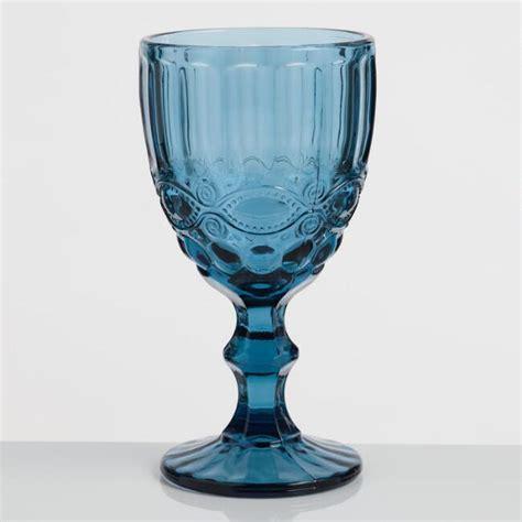 Blue Pressed Glass Goblets Set of 4   World Market