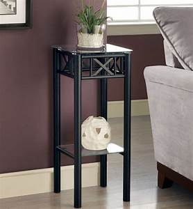 Black, Metal, Plant, Stand, With, A, Tempered, Glass, Top, By, Monarch, Specialties, In, Indoor, Plant, Stands
