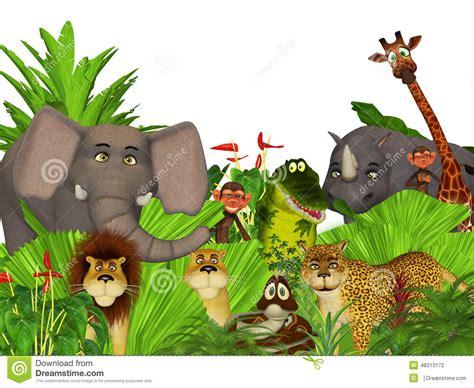 cartoon wild jungle animals stock illustration