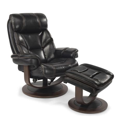 flexsteel 1453 co west leather chair and ottoman discount