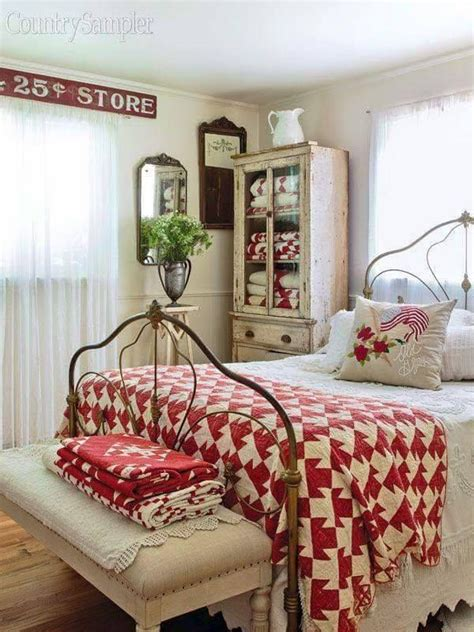 furniture bedrooms redwhite farmhouse country