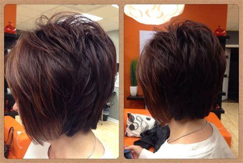 Layered Bob / Dark Reddish Brown With Copper Highlights