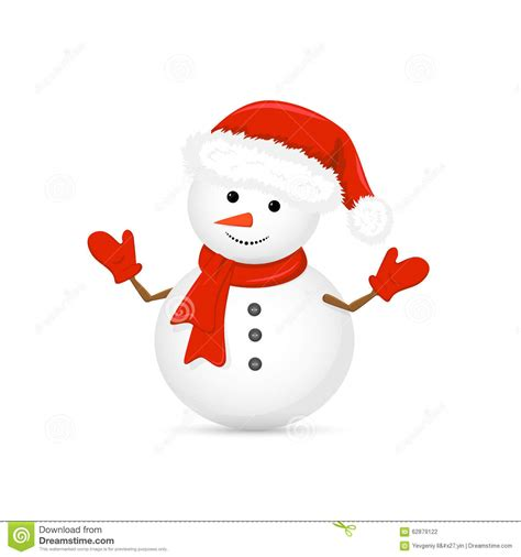 snowman in santa hat and red scarf stock vector image