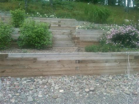 images  wood retaining wall  pinterest