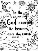 Genesis Bible Coloring Verse Colouring Heaven Crafts Christian Activities sketch template