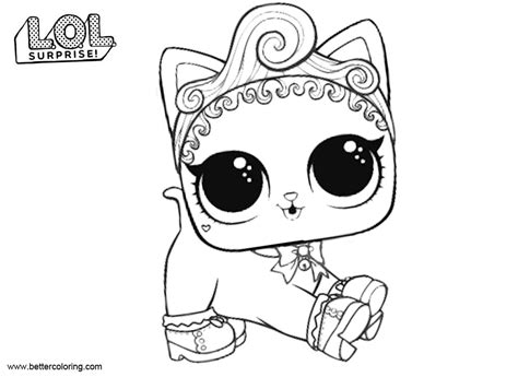 lol pets coloring pages royal kitty cat  printable