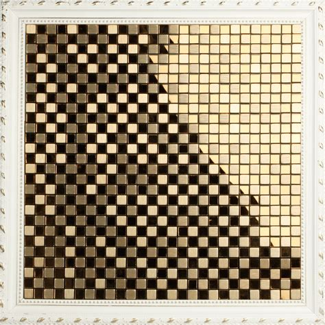 peel  stick adhsive mosaic tile kitchen backsplash gold