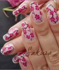 Flower nail designs pink colour