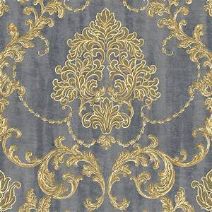 130304 vliestapete barock ornament gold grau metallic With balkon teppich mit barock tapete gold braun