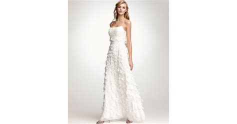 Ann Taylor Rose Petal Spaghetti Strap Wedding Dress In