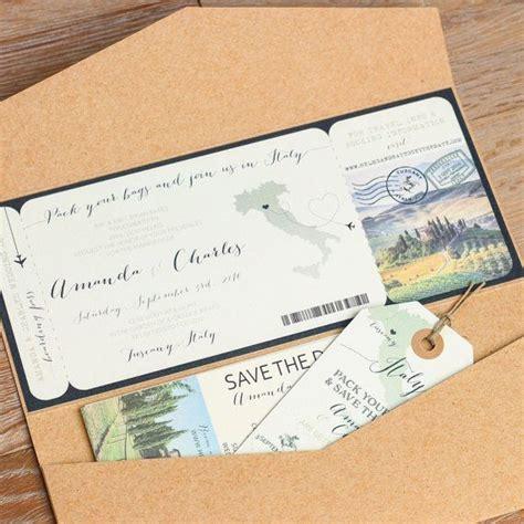 italy boarding pass wedding invitation design fee