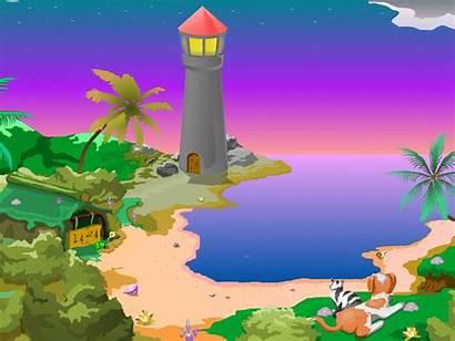 Pemandangan Animasi Lighthouse Clock Background Scenery Screensaver