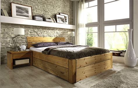 Bett Naturholz  Haus Dekoration