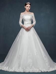 Off shoulder long sleeves a line lace wedding dress jojo for No lace wedding dress