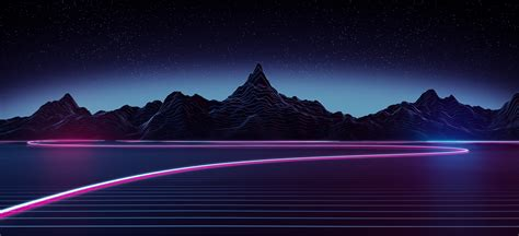 Retro Neon Wallpaper Pc by Wallpaper Highway Neon Mountains Retrowave 5k