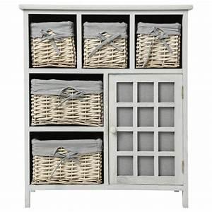 Meuble A Panier : meuble de rangement 5 paniers 73cm aby blanc ~ Teatrodelosmanantiales.com Idées de Décoration