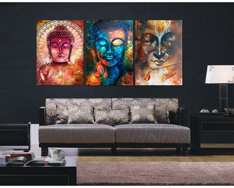 pieces buddha image portrait art painting canvas wall