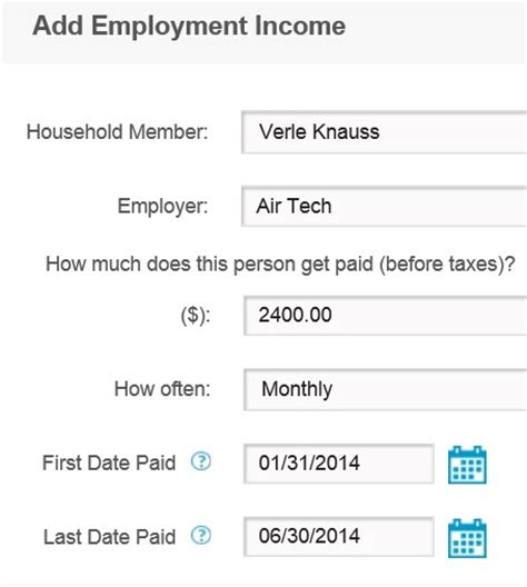 Employment Dates by Covered California Updates Income Section