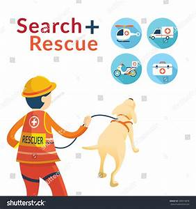 Rescuer Dog Emergency Vehicle Equipment Icons Stock Vector ...
