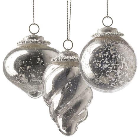 set of six silver mini antique christmas ornaments